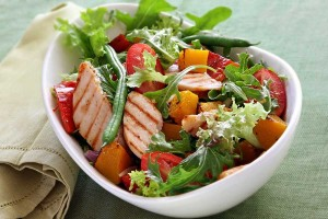 Chicken salad with roasted vegetables